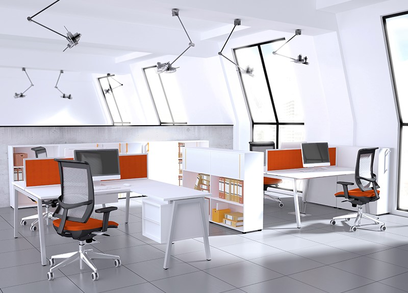 Nova-A-workstations in white in colourful and contemporary office