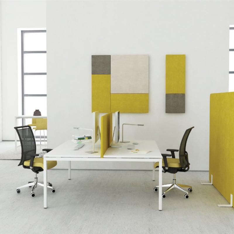 Nova-U-Bench with yellow backed mesh office chairs