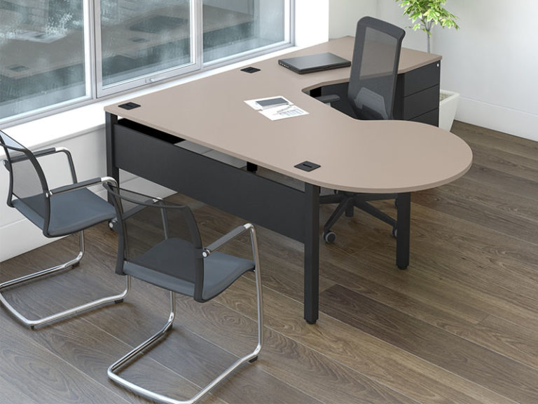 executive desk is mesh backed meeting chairs and an executive office chair around it