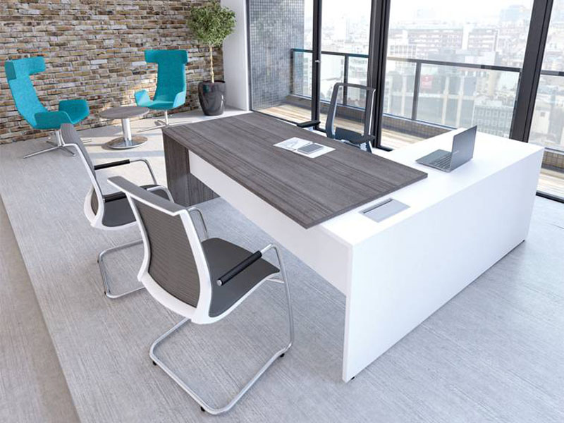 executive workstation with panel end in wood effect and white
