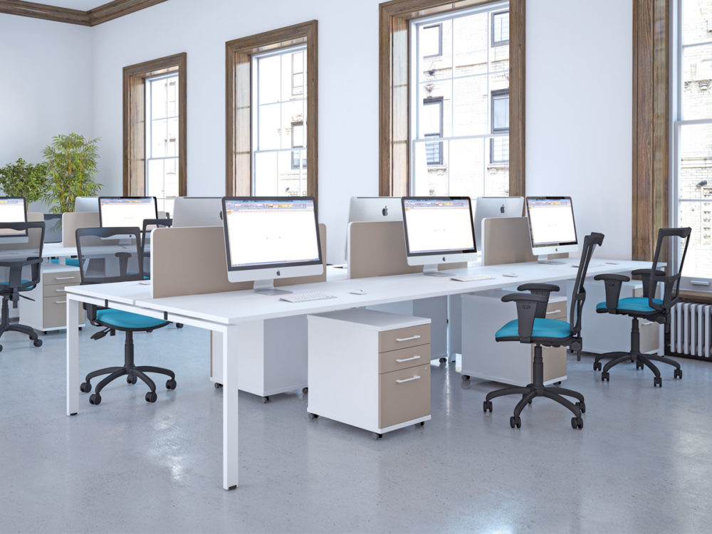 workstations in contemporary office