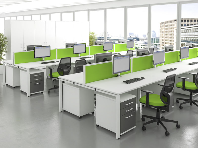 veta office workstation with green desk partitions