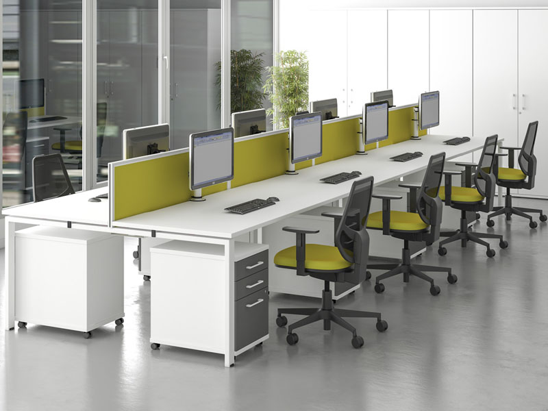 veta workstation benches with yellow mesh office chairs and yellow desk partition screens