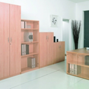 wooden cupboard and bookcase