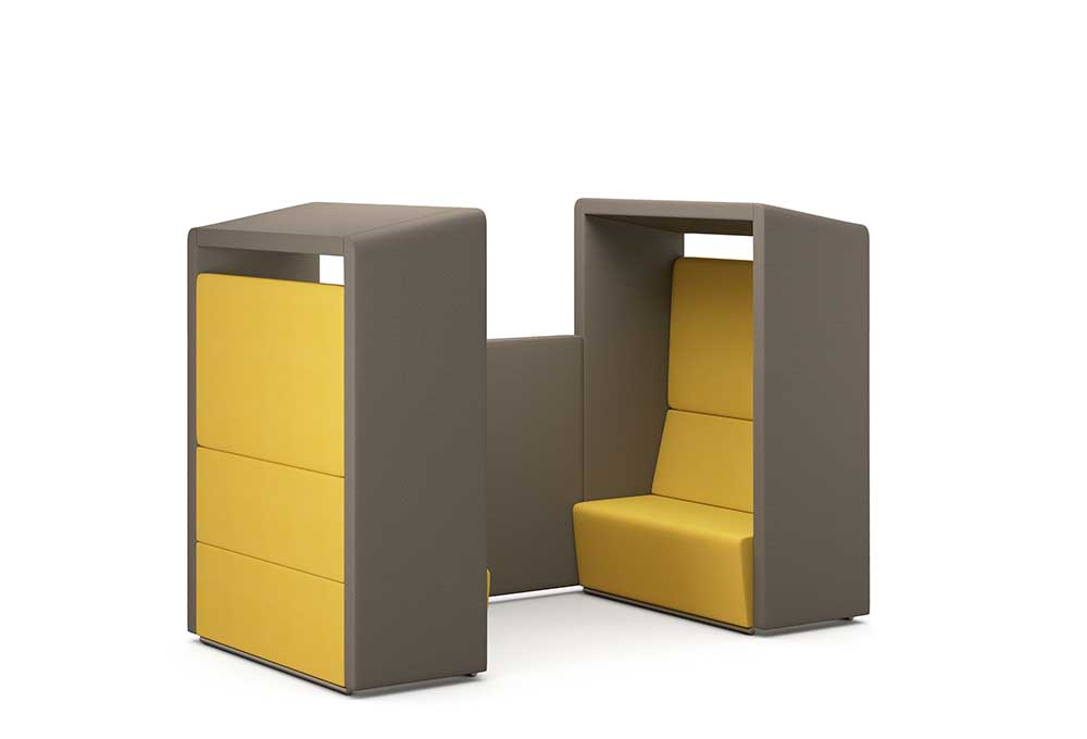 Pledge Edge Design Fifteen Pods meeting pod yellow and brown