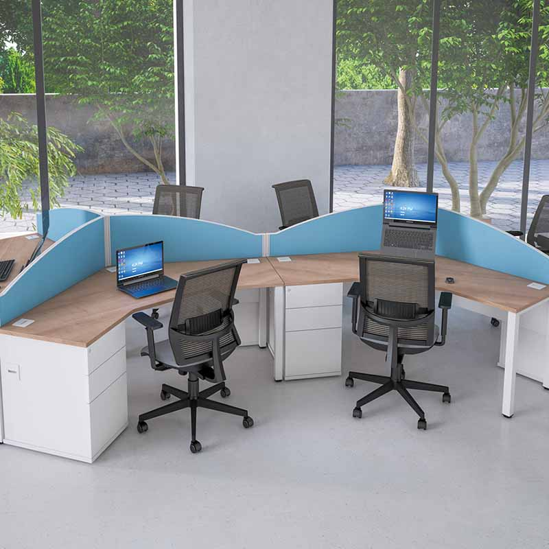 Pure Desking Workstation Pod with partitions