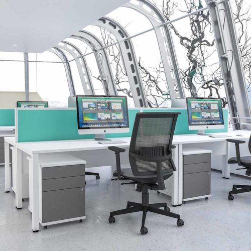 Pure Desking modern white work stations with aqua marine coloured desk partitions