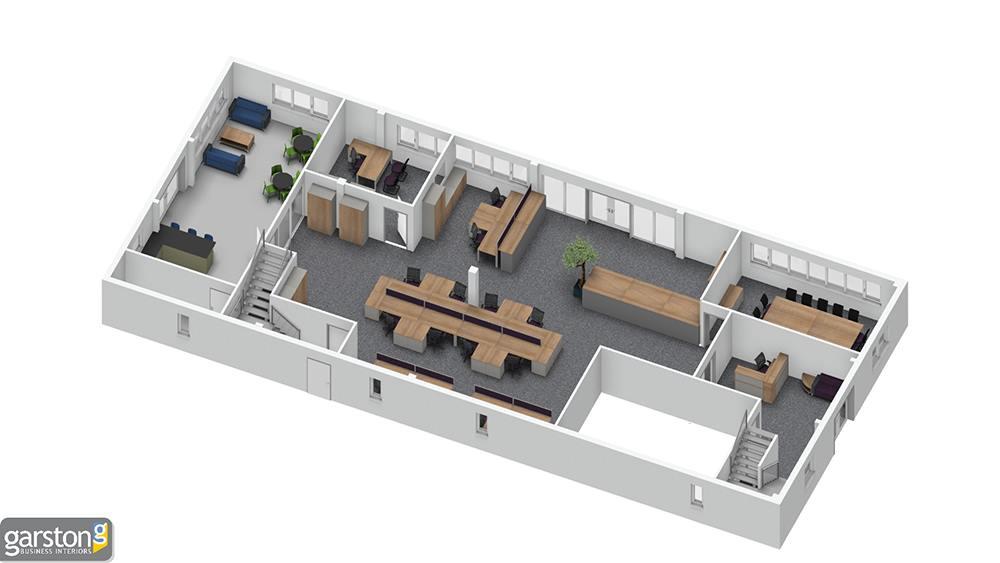 3d office design plan