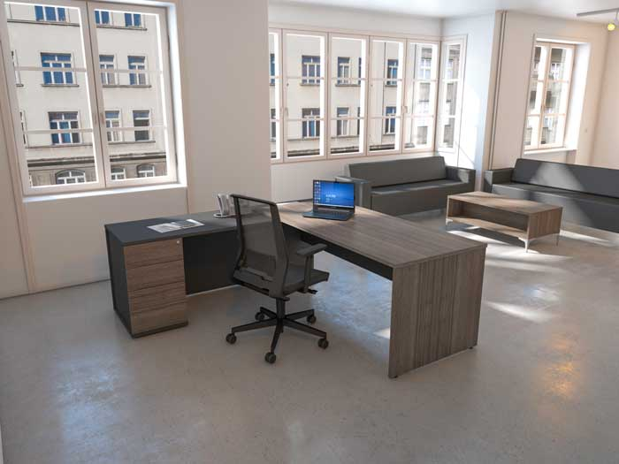 Anthracite & Black Rear View office desk