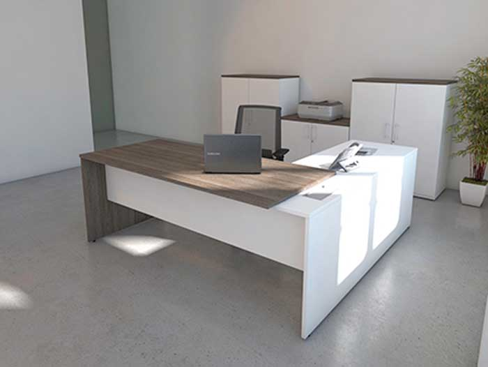 Anthracite & White panel end desk Front View
