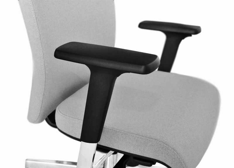 Aura chair in grey with focus on black arm-rests