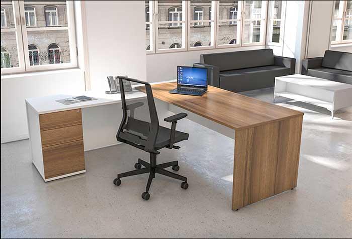 Dijon & White office desk Rear View