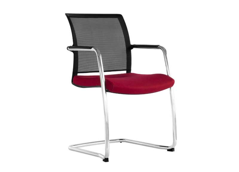 Diva chair in berry with mesh back on skid base