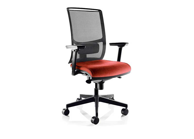 Diva chair in red with mesh back and armrests