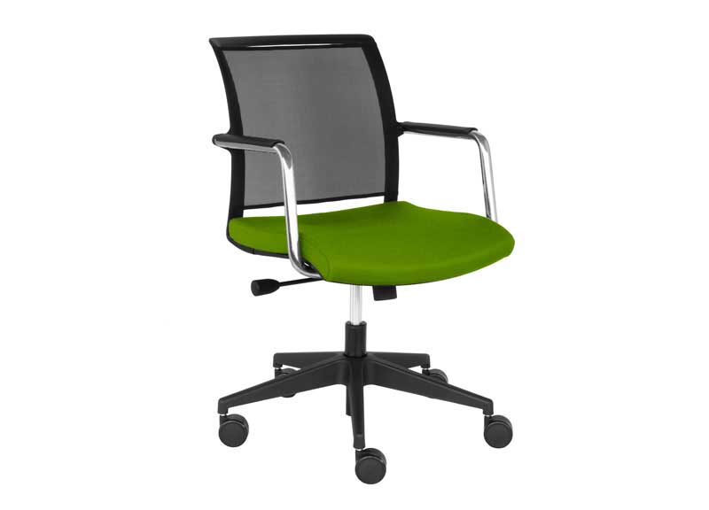 Green and black Diva chair with armrests and swivel base