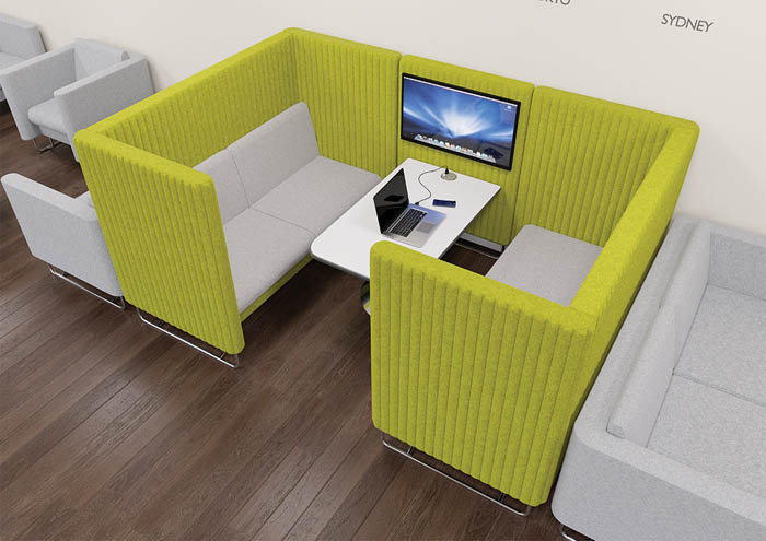 EDEN-meeting pod in lime green in an office environment