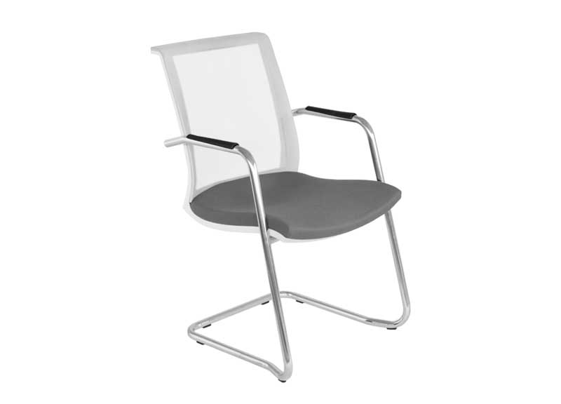 side view of Eva chair with arms and skid base