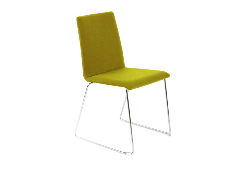 Moon chair in mustard green with skid base