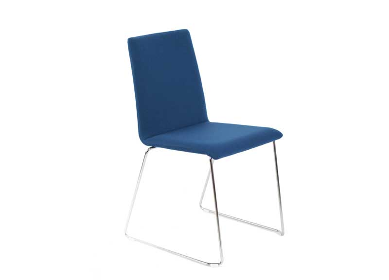 Moon chair in blue with skid base and no arm rests
