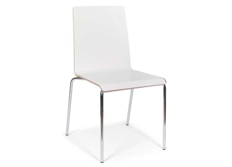 Moon chair in white with 4 legs and no arms