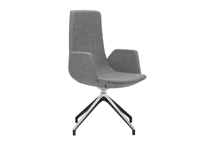 North Cape chair with fixed solid arms in grey
