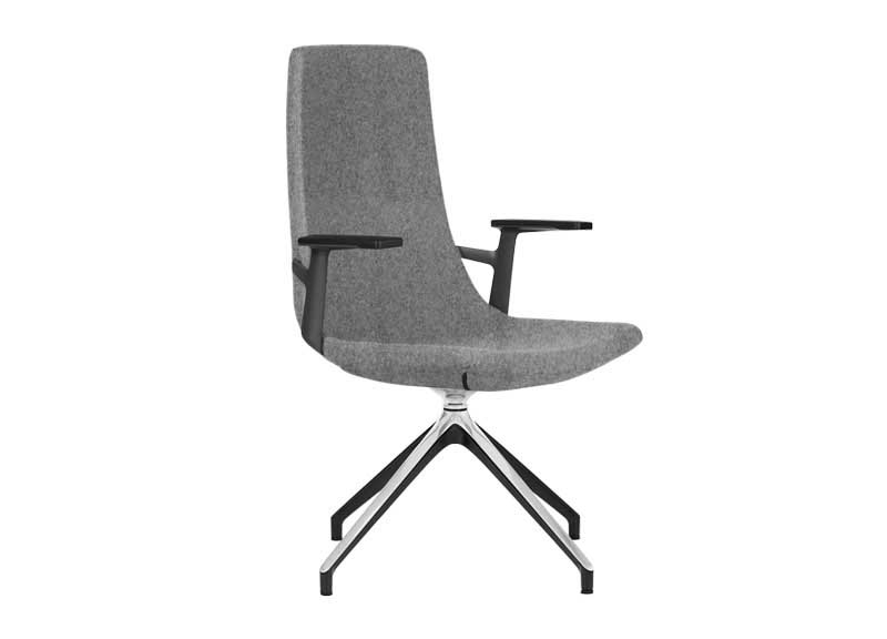 North Cape chair with arm rests in grey