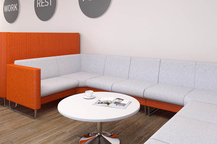 Orange and white Eden soft seating