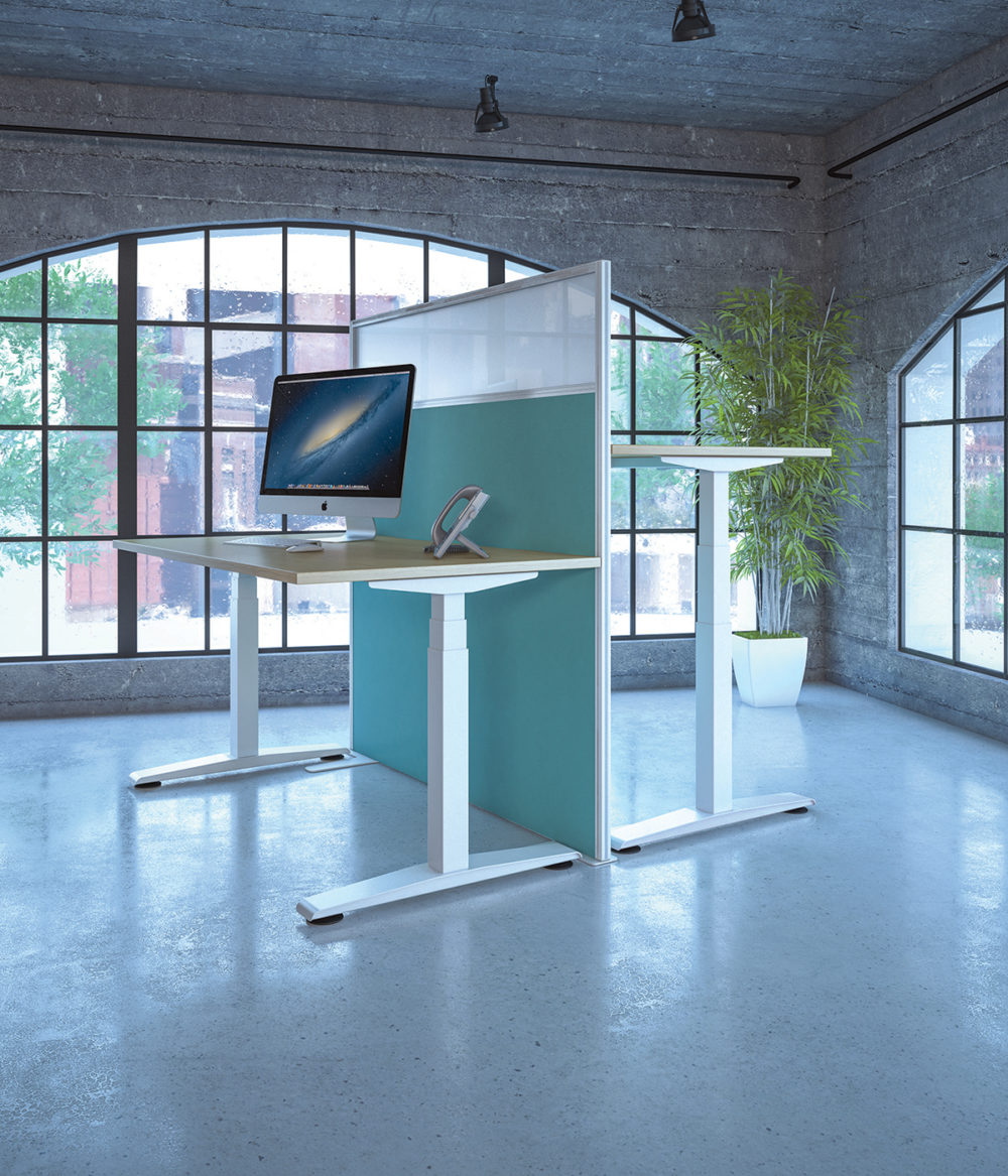 Freedom height adjustable desk in white white wood effect top