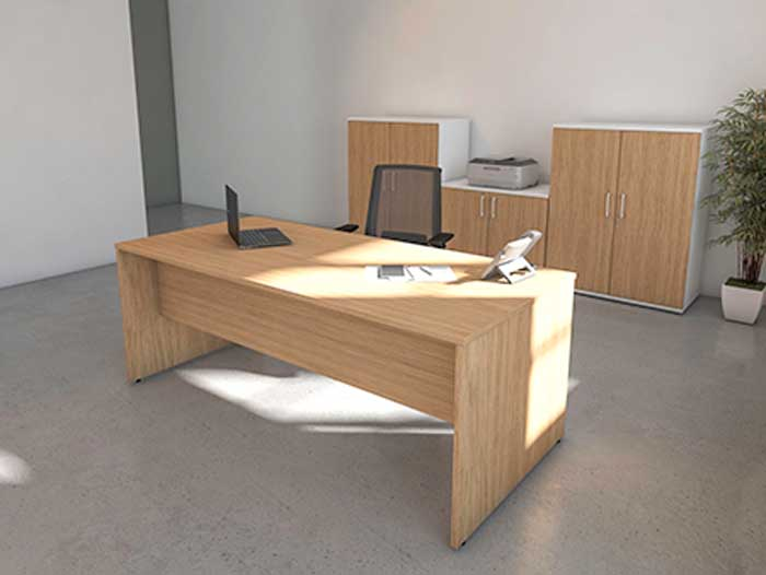 Rectangular Stone Oak Front View office desk