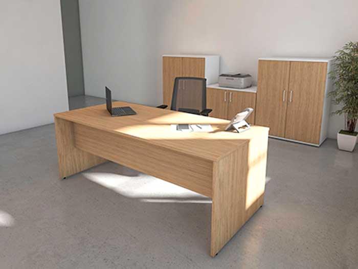 Rectangular Stone Oak Front View office desk