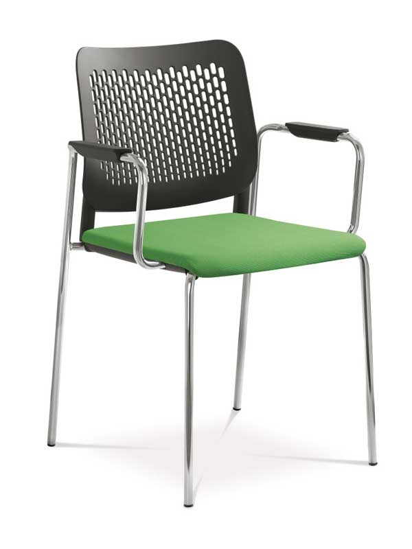 Wait chair in green and black with arm rests