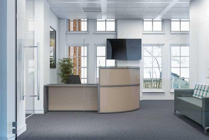 curved receptive reception desk