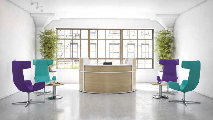 receptive reception desk in and office