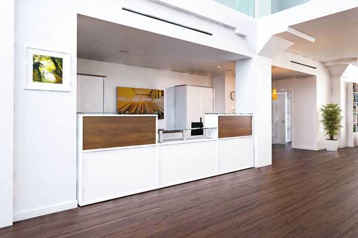 receptive reception desk in white