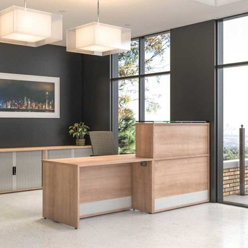 receptive reception desk in wood effect