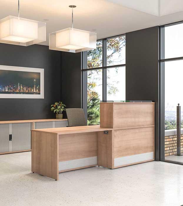 receptive reception desk in wood effect