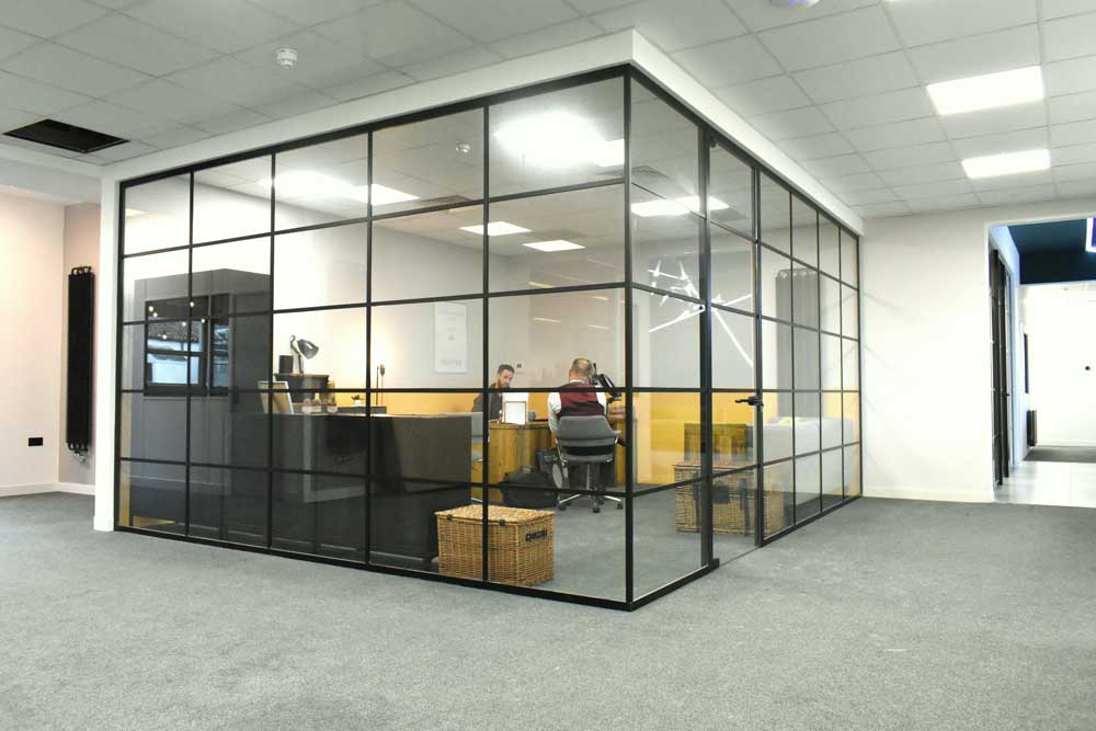 applied workplace glass office partitions
