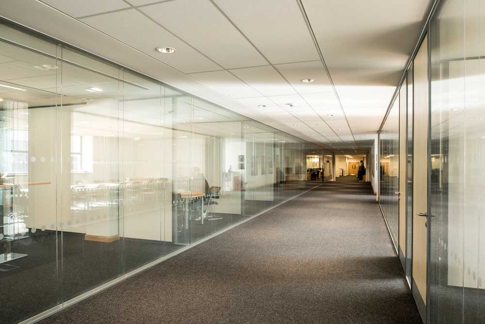 interior of office with office partitions-