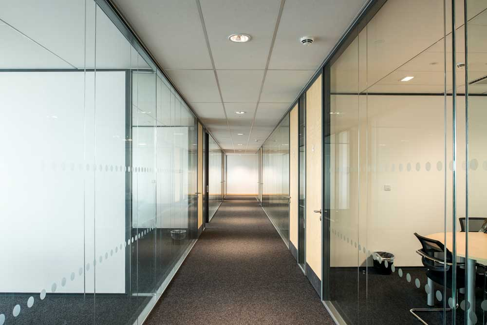 office partitions forming a corridor by applied workplace